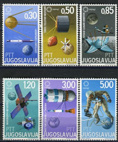 Poštovní známky Jugoslávie 1967 Vesmírné satelity a sondy Mi# 1216-21