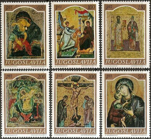 Poštovní známky Jugoslávie 1968 Umìní, støedovìké ikony Mi# 1268-73