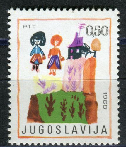 Poštovní známka Jugoslávie 1968 Dìtská kresba Mi# 1304