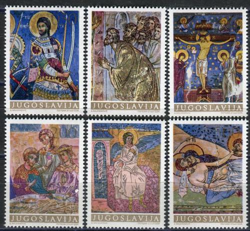 Poštovní známky Jugoslávie 1969 Fresky, umìní Mi# 1322-27