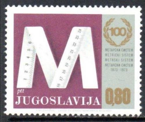Poštovní známka Jugoslávie 1974 Metrický systém, 100. výroèí Mi# 1538
