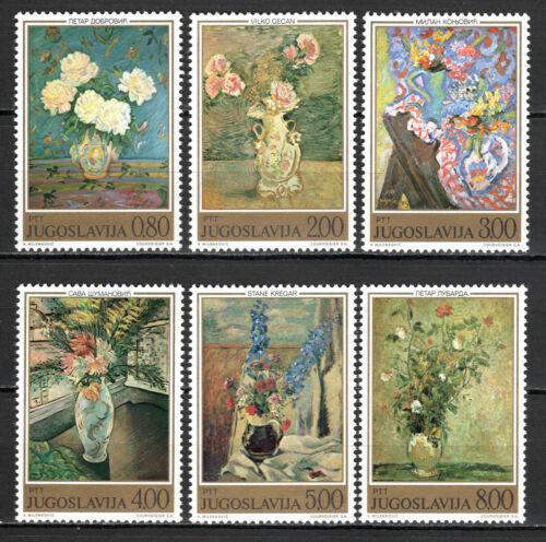 Poštovní známky Jugoslávie 1974 Umìní, malby kvìtin Mi# 1577-82
