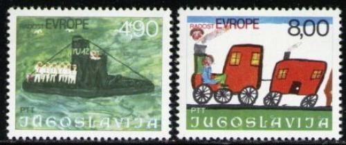 Poštovní známky Jugoslávie 1976 Dìtské kresby Mi# 1664-65
