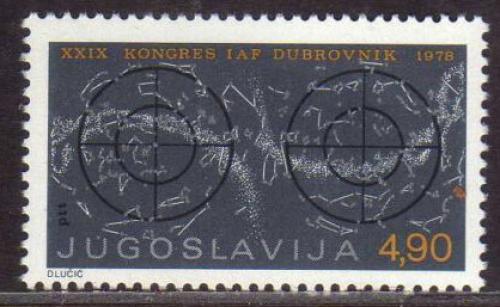 Poštovní známka Jugoslávie 1978 Mezinárodní kongres astronautiky Mi# 1743