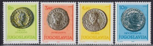 Poštovní známky Jugoslávie 1980 Øímské mince Mi# 1838-41