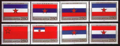 Poštovní známky Jugoslávie 1980 Vlajky republik Mi# 1859-66
