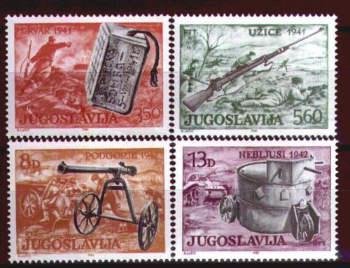 Poštovní známky Jugoslávie 1981 Partizánské zbranì Mi# 1873-76