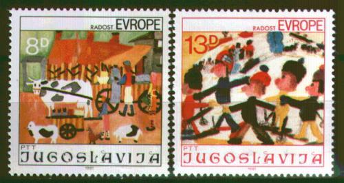 Poštovní známky Jugoslávie 1981 Dìtské kresby Mi# 1901-02