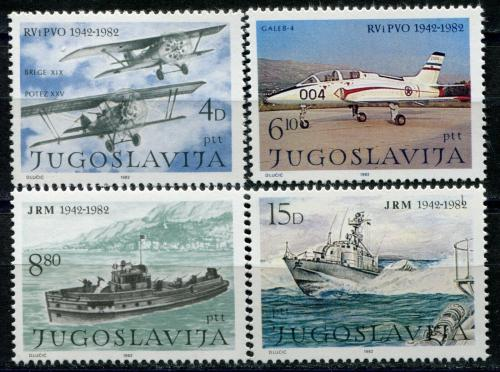 Poštovní známky Jugoslávie 1982 Lodì a letadla Mi# 1939-42