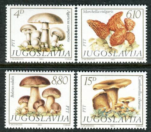 Poštovní známky Jugoslávie 1983 Houby Mi# 1977-80