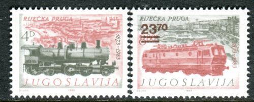 Poštovní známky Jugoslávie 1983 Železnice pøetisk Mi# 1981-82