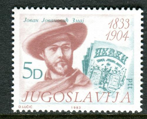 Poštovní známka Jugoslávie 1983 Jovan Jovanoviè Zmaj, básník Mi# 2006