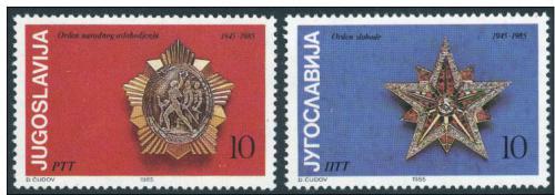 Poštovní známky Jugoslávie 1985 Vojenské øády Mi# 2107-08