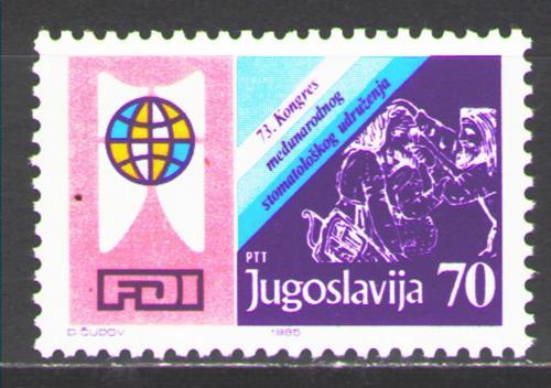 Poštovní známka Jugoslávie 1985 Kongres zubního lékaøství Mi# 2125