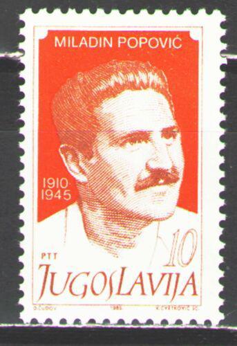 Poštovní známka Jugoslávie 1985 Miladin Popoviè, politik Mi# 2129
