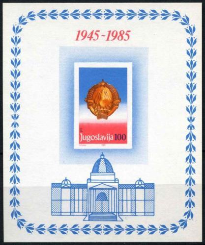 Poštovní známka Jugoslávie 1985 Vznik republiky, 40. výroèí Mi# Block 27
