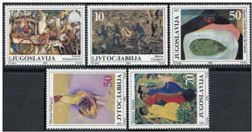 Poštovní známky Jugoslávie 1985 Umìní Mi# 2132-36