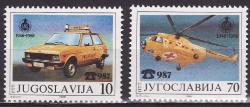 Poštovní známky Jugoslávie 1986 Auto a helikoptéra Mi# 2146-47