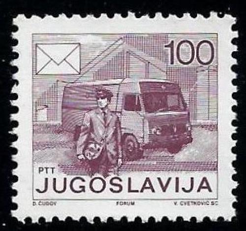 Poštovní známka Jugoslávie 1986 Poštovní služby Mi# 2181