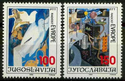 Poštovní známky Jugoslávie 1986 Dìtské kresby Mi# 2194-95
