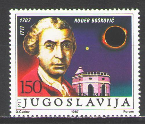 Poštovní známka Jugoslávie 1987 Rugjer Josip Boškoviè, matematik Mi# 2210