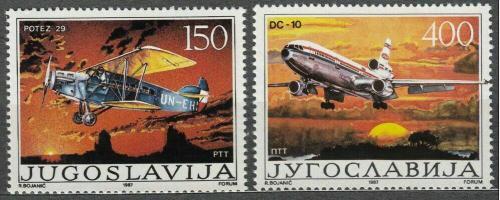 Poštovní známky Jugoslávie 1987 Letadla Mi# 2213-14
