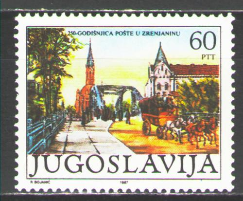 Poštovní známka Jugoslávie 1987 Poštovní služby v Zrenjanin Mi# 2229