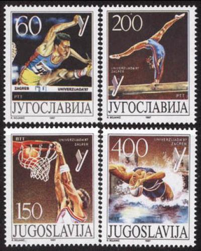 Poštovní známky Jugoslávie 1987 Univerziáda Záhøeb Mi# 2230-33