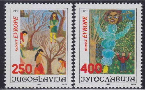 Poštovní známky Jugoslávie 1987 Dìtské kresby Mi# 2241-42