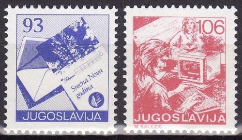 Poštovní známky Jugoslávie 1987 Poštovní služby Mi# 2255-56