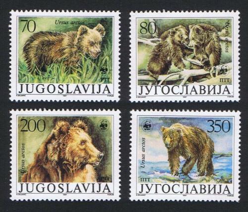 Poštovní známky Jugoslávie 1988 Medvìd hnìdý, WWF Mi# 2260-63 Kat 20€