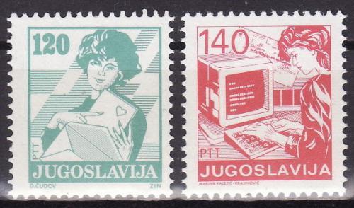 Poštovní známky Jugoslávie 1988 Poštovní služby Mi# 2288-89