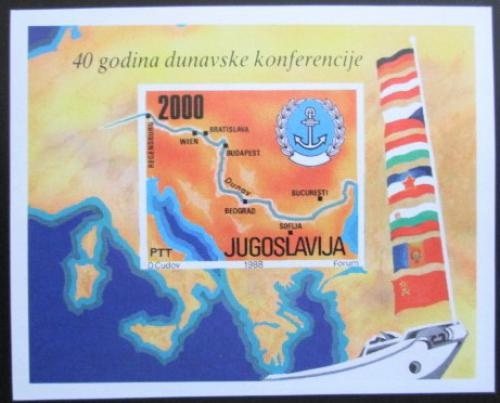 Poštovní známka Jugoslávie 1988 Dunajská konference, 40. výroèí Mi# Block 33