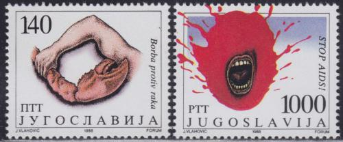 Poštovní známky Jugoslávie 1988 Boj proti rakovinì a AIDS Mi# 2298-99