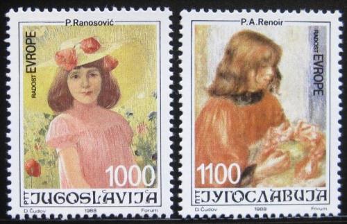 Poštovní známky Jugoslávie 1988 Umìní, malby dìtí Mi# 2300-01