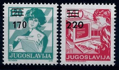 Poštovní známky Jugoslávie 1988 Poštovní služby pøetisk Mi# 2316-17