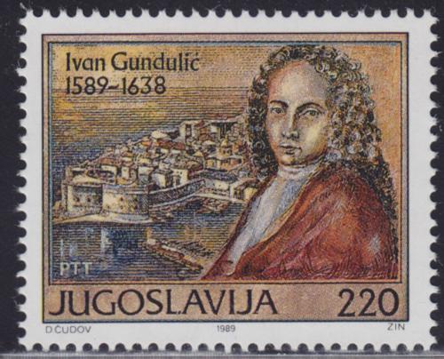 Poštovní známka Jugoslávie 1989 Ivan Gunduliè, básník Mi# 2326