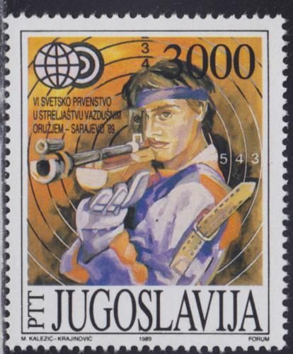 Poštovní známka Jugoslávie 1989 MS ve sportovní støelbì Mi# 2339