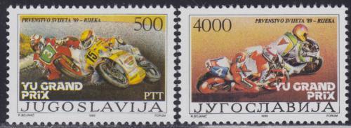 Poštovní známky Jugoslávie 1989 Motocyklové závody Mi# 2345-46