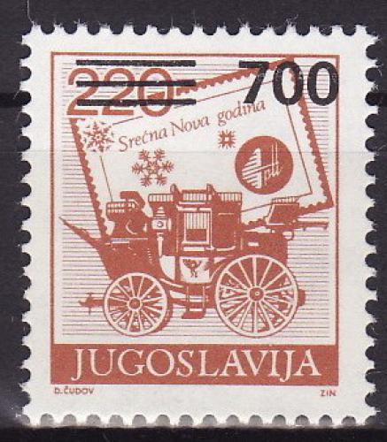 Poštovní známka Jugoslávie 1989 Poštovní dostavník pøetisk Mi# 2359
