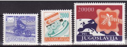 Poštovní známky Jugoslávie 1989 Poštovní služby Mi# 2360-62