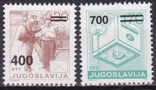 Poštovní známky Jugoslávie 1989 Poštovní služby pøetisk Mi# 2363-64