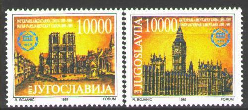 Poštovní známky Jugoslávie 1989 Meziparlamentní unie, 100. výroèí Mi# 2367-68