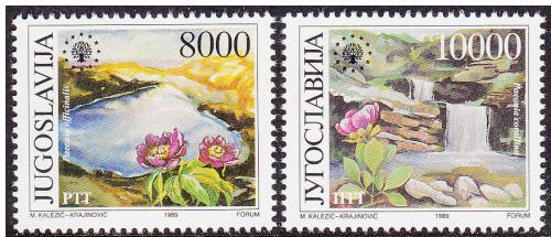 Poštovní známky Jugoslávie 1989 Ochrana pøírody Mi# 2374-75