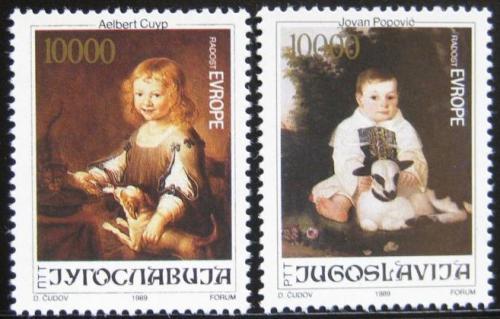 Poštovní známky Jugoslávie 1989 Umìní, malby dìtí Mi# 2376-77
