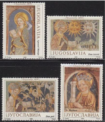 Poštovní známky Jugoslávie 1989 Fresky Mi# 2385-88