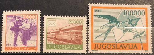 Poštovní známky Jugoslávie 1989 Poštovní služby Mi# 2389-91