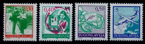 Poštovní známky Jugoslávie 1990 Poštovní služby Mi# 2396-99