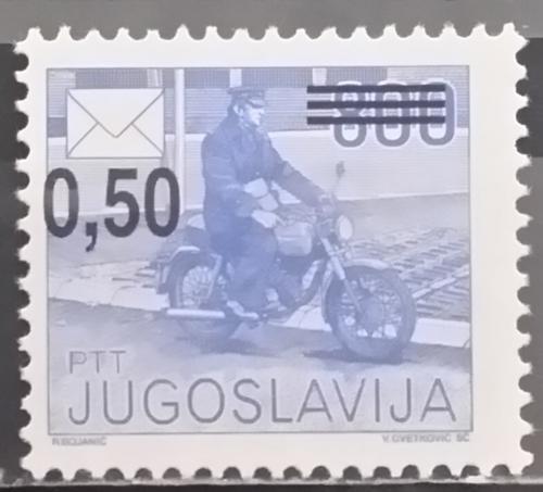 Poštovní známka Jugoslávie 1990 Poštovní služby pøetisk Mi# 2421