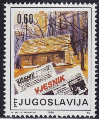 Poštovní známka Jugoslávie 1990 Noviny Vjesnik, 50. výroèí Mi# 2432